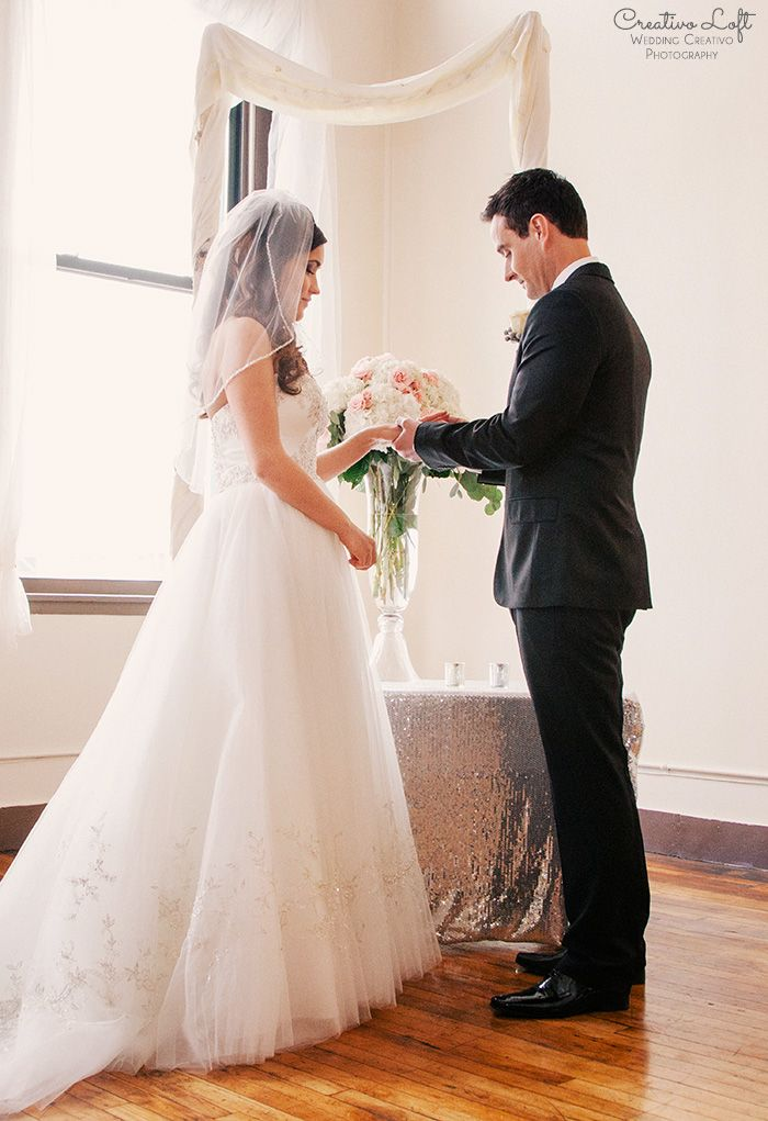 Brooke And Craig S Blush Silver Gold Small Wedding At Creativo Loft In Chicago