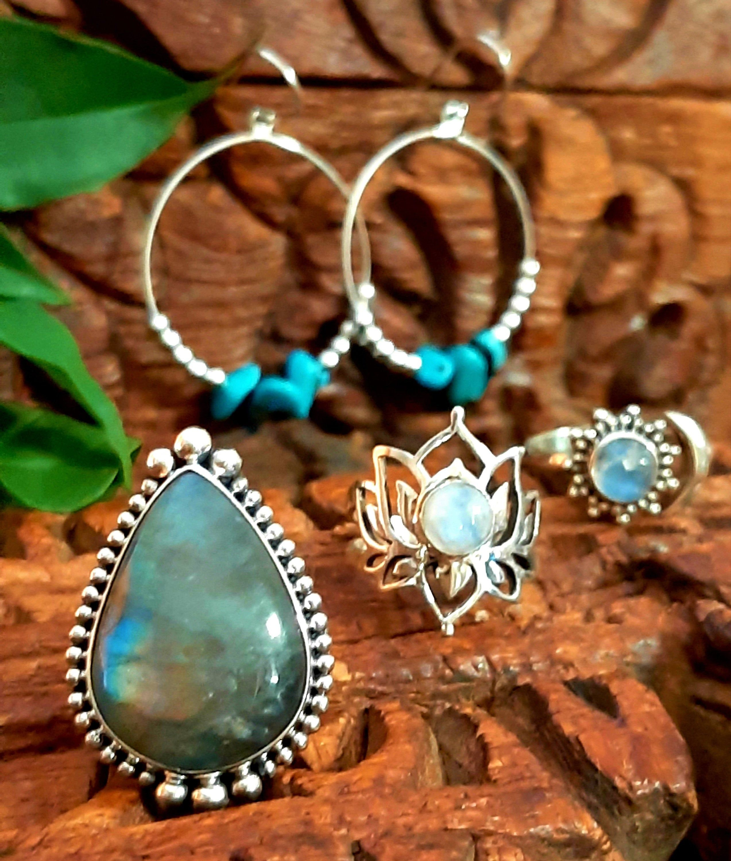 Moonstone Lotus Earrings Rainbow Moonstone Earrings Hippie Boho Earrings. Boho Chic Earrings Dangle Gemstone Earrings Lotus Jewellery