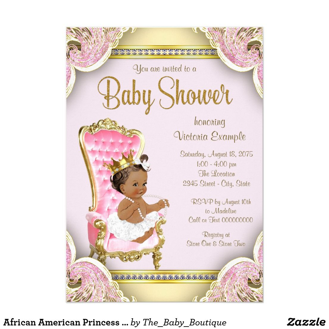 African American Princess Baby Shower Invitations Zazzle