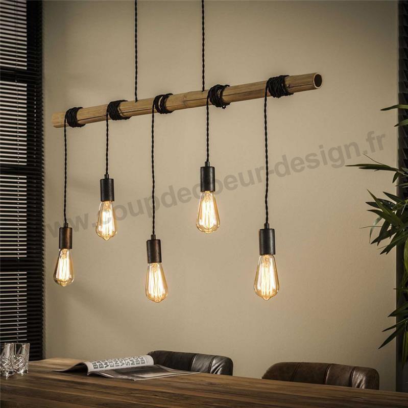 Suspension Barre En Bois 5 Ampoules Townshend Suspension Bambou Luminaires Salle A Manger Luminaire