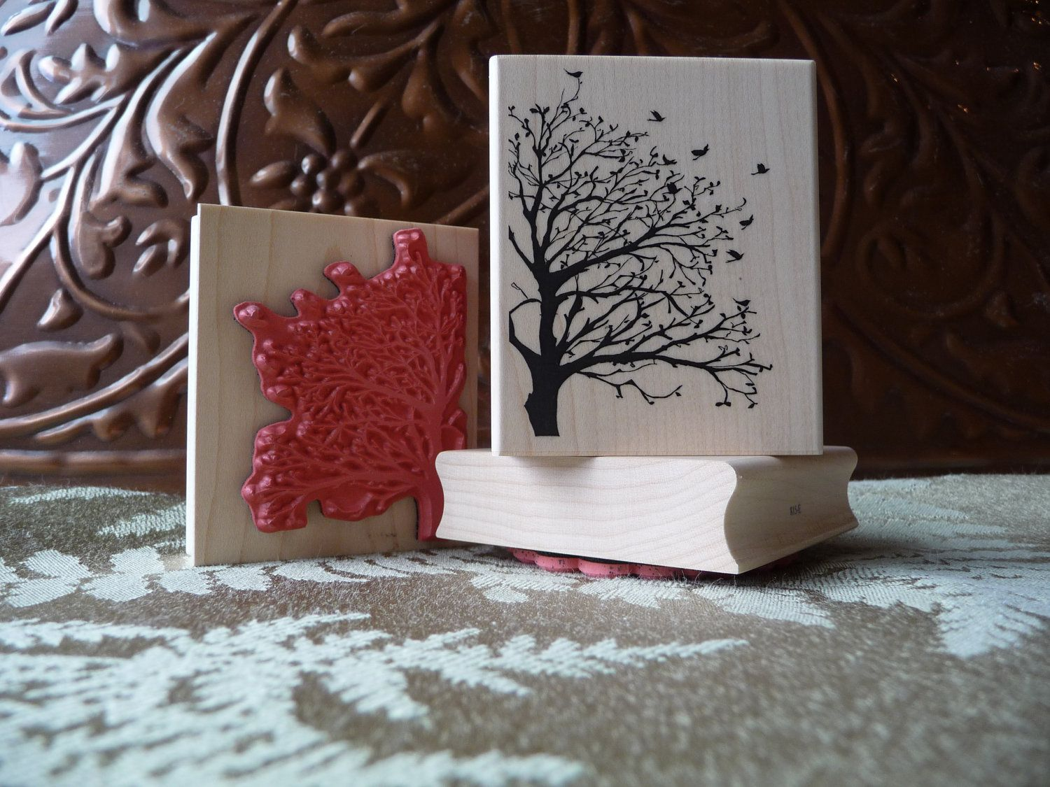 Silhouette tree and birds rubber stamp from oldislandstamps ...