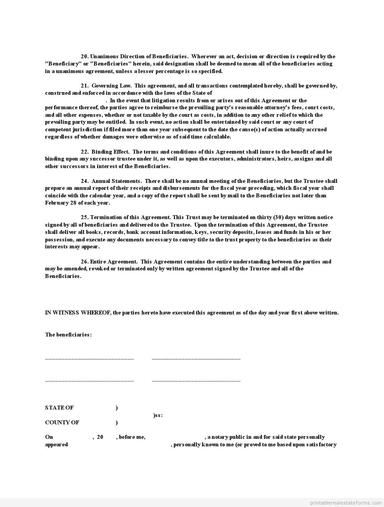 Sample Printable Pp Trust Form  Sample Real Estate Forms