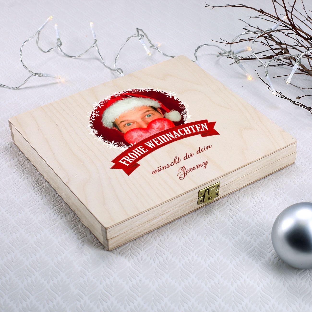 Geschenkverpackung mit Foto und Wunschtext zu Weihnachten ...