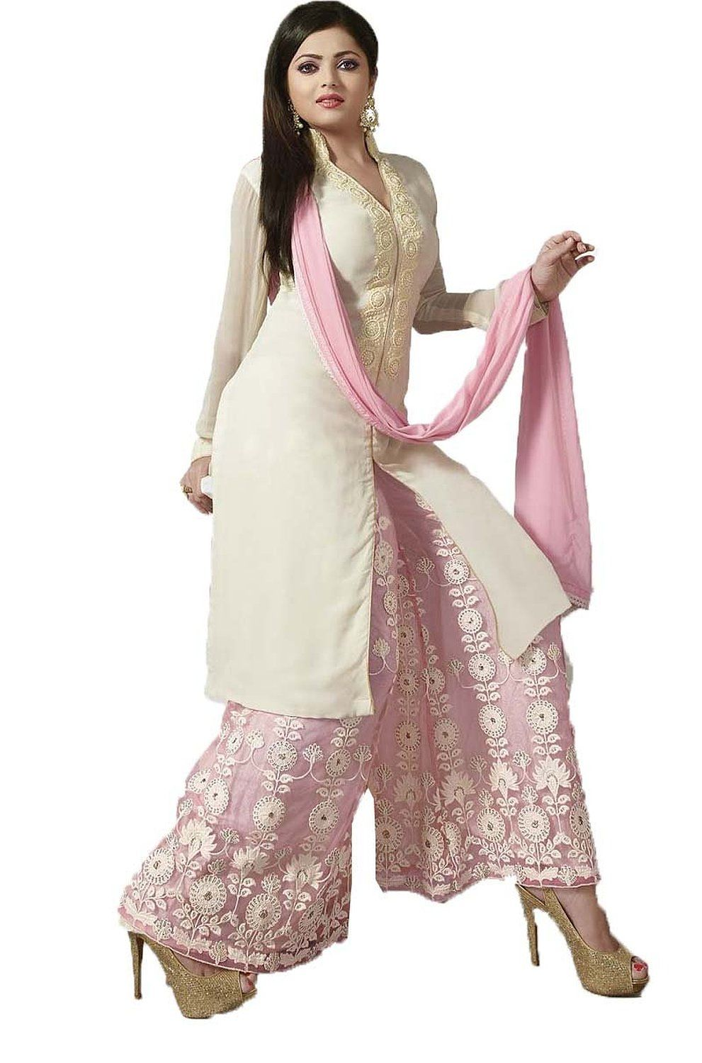 b0af4361ba4 chakudee by white georgette drees material  Amazon.in  Clothing    Accessories