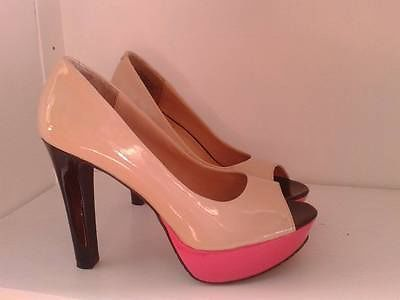Candies Pink Nude and Black Peep Toe Pumps Size 7 | eBay. These ...