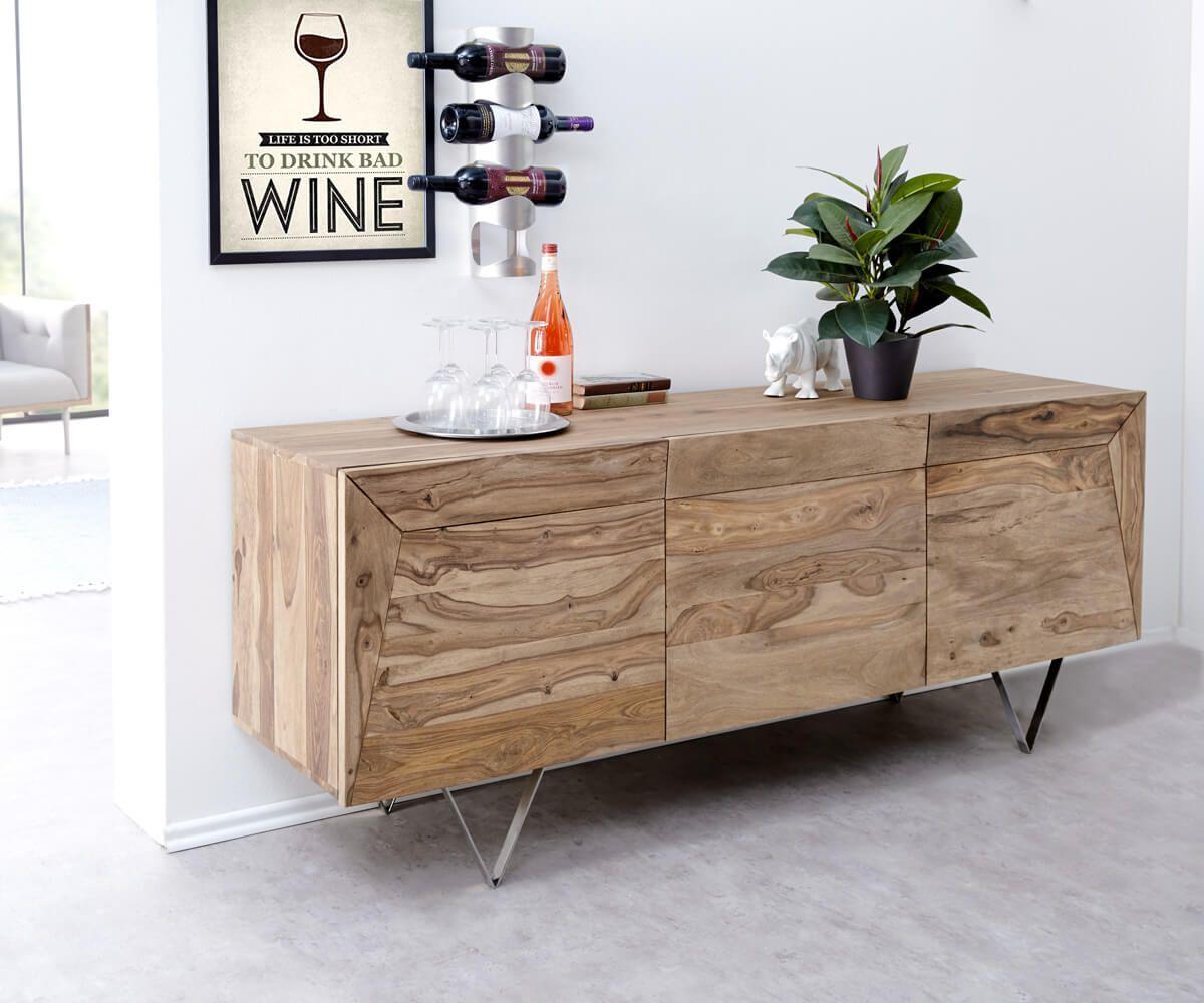 Designer Sideboard Wyatt 175 Cm Sheesham Natur 3 Turen Edelstahl