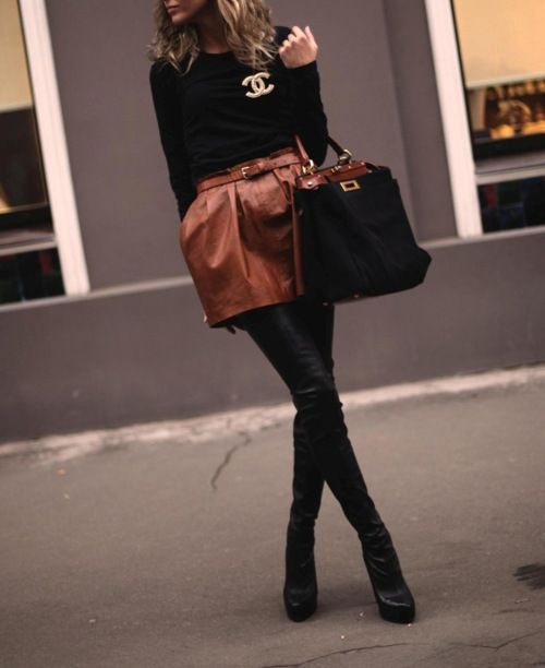 #Chanel. #leather camel skirt + leather black leggins. The trend for this season!
