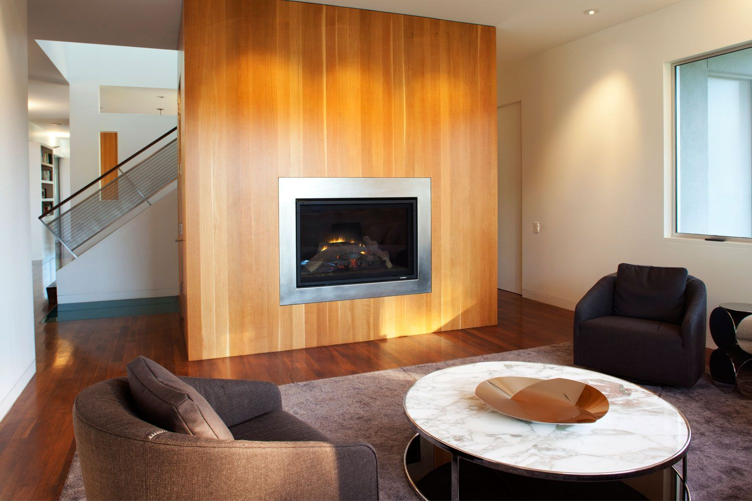 Fireplace Design Applied under Living Room Among Two ...