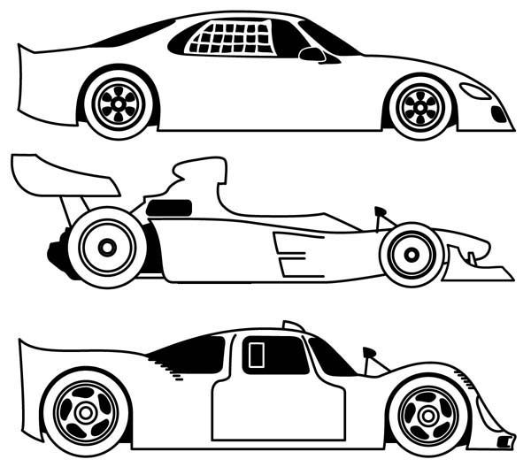 Three different race car coloring page free printable for Blank race car templates