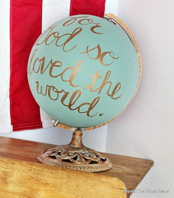 Globe love with fusion mineral paint bec4 beyondthepic decoraci n pinterest - Globo terraqueo decoracion ...