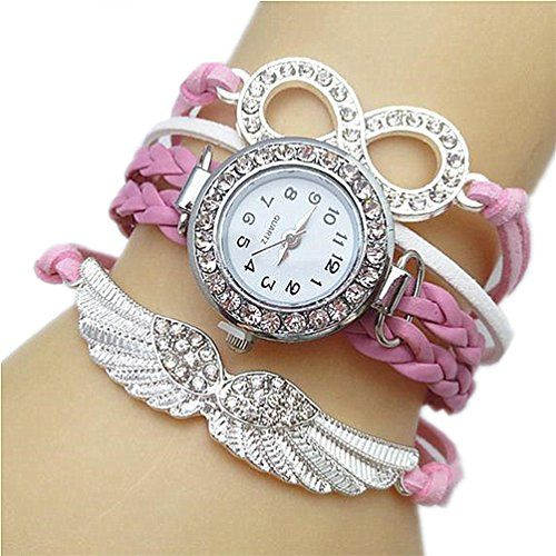 Samgo Infinite Rhinestone Wing Bracelet Strap Leather Quartz Wrist Watches Pink -- Be sure to check out this awesome product.Note:It is affiliate link to Amazon.