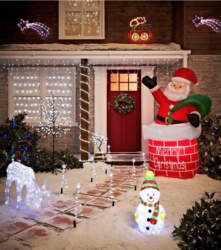 Adornos navideños bellos y elegantes para el exterior - jardines navideos