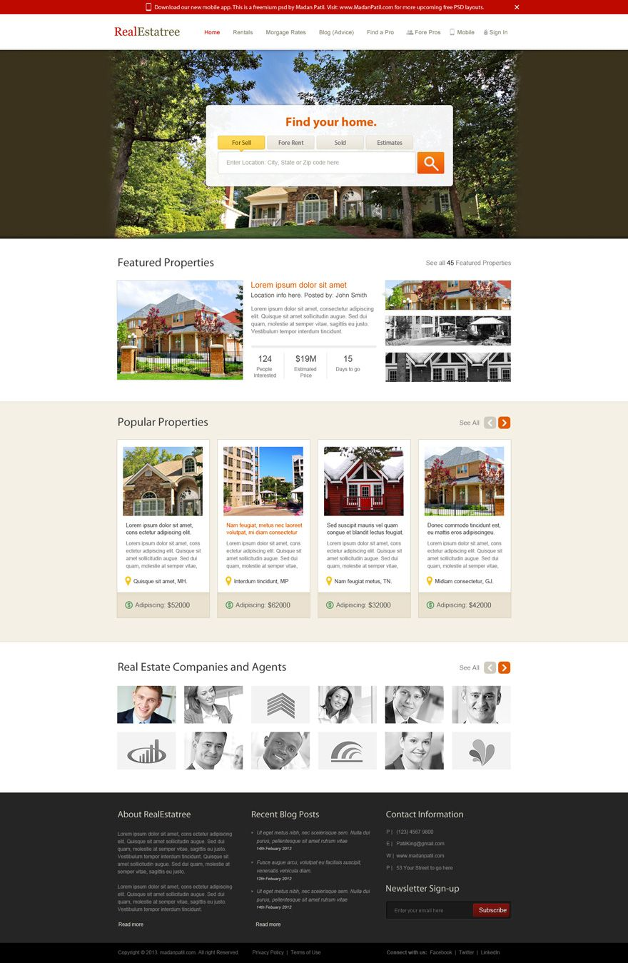 Free Home page PSD layout for Real Estate Website by patilking ...