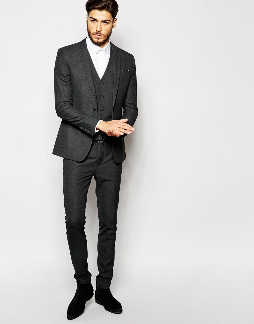 ASOS Super Skinny Suit Jacket In Charcoal | Suits | Pinterest ...