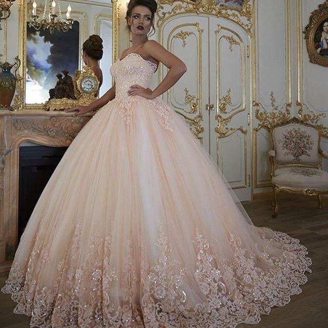 Pink Wedding Dresses, Puffy