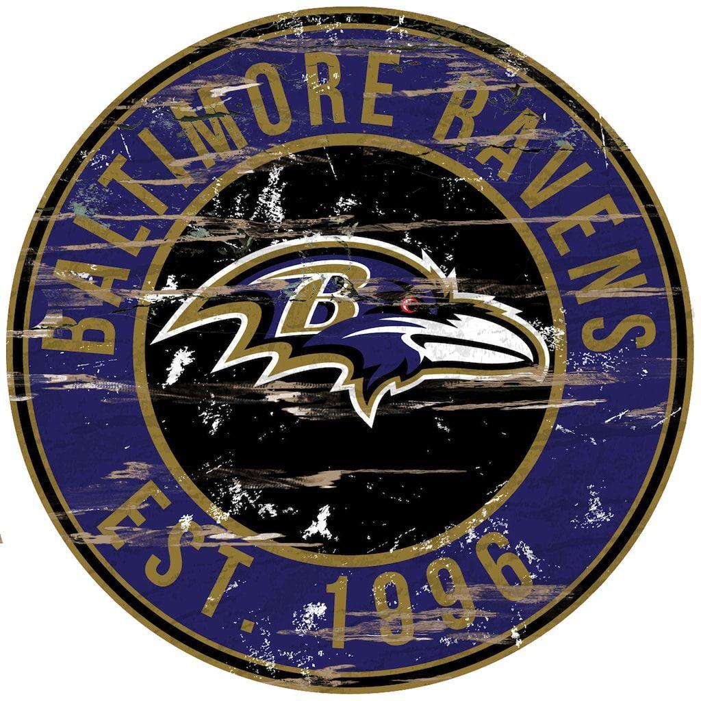 "Baltimore Ravens Distressed 24"""" x 24"""" Round Wall Art"
