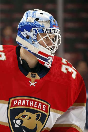 SUNRISE, FL - FEBRUARY 3: Goaltender Sam Montembeault #33 of the Florida Panthers warms up on the ice prior to the start of the game against the Detroit Red Wings at the BB&T Center on February 3, 2018 in Sunrise, Florida. (Photo by Eliot J. Schechter/NHLI via Getty Images)