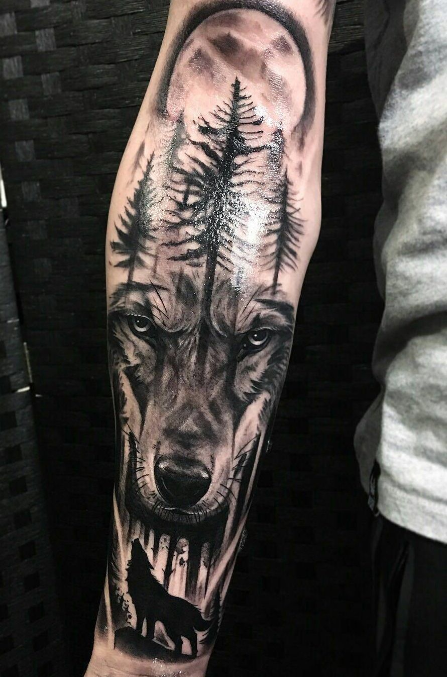 0c99f04b82987 beautiful black & gray wolf tattoo © tattoo studio Voodoo Ink Tattoo &  Barbers 💕🐺💕🐺💕🐺💕🐺💕