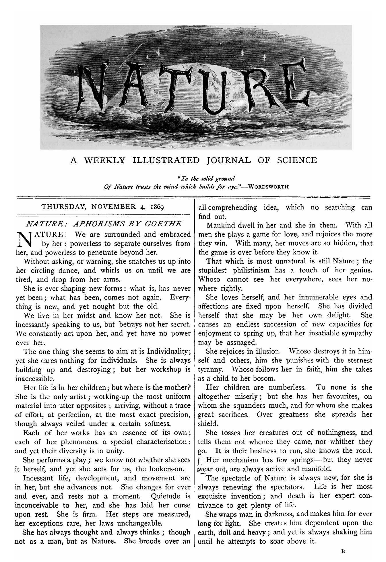 Cover of the first issue of Nature, 4 November 1869. Nature ...