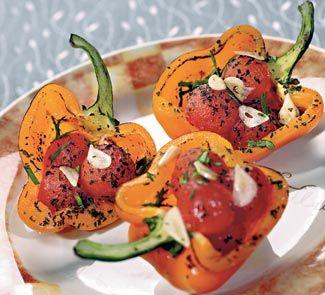 Запеченные перцы с помидорами черри | Рецепт | Помидоры ...