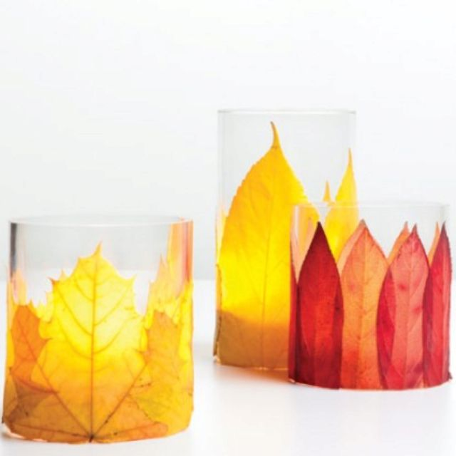 Leaf votives. Nice idea for various Sabbats & Esbats