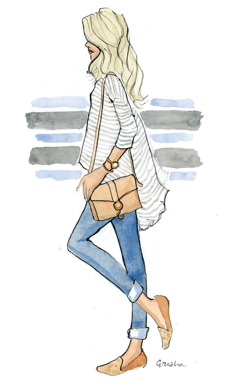 Fashion Illustration Art Print Casual Kicks Dibujos