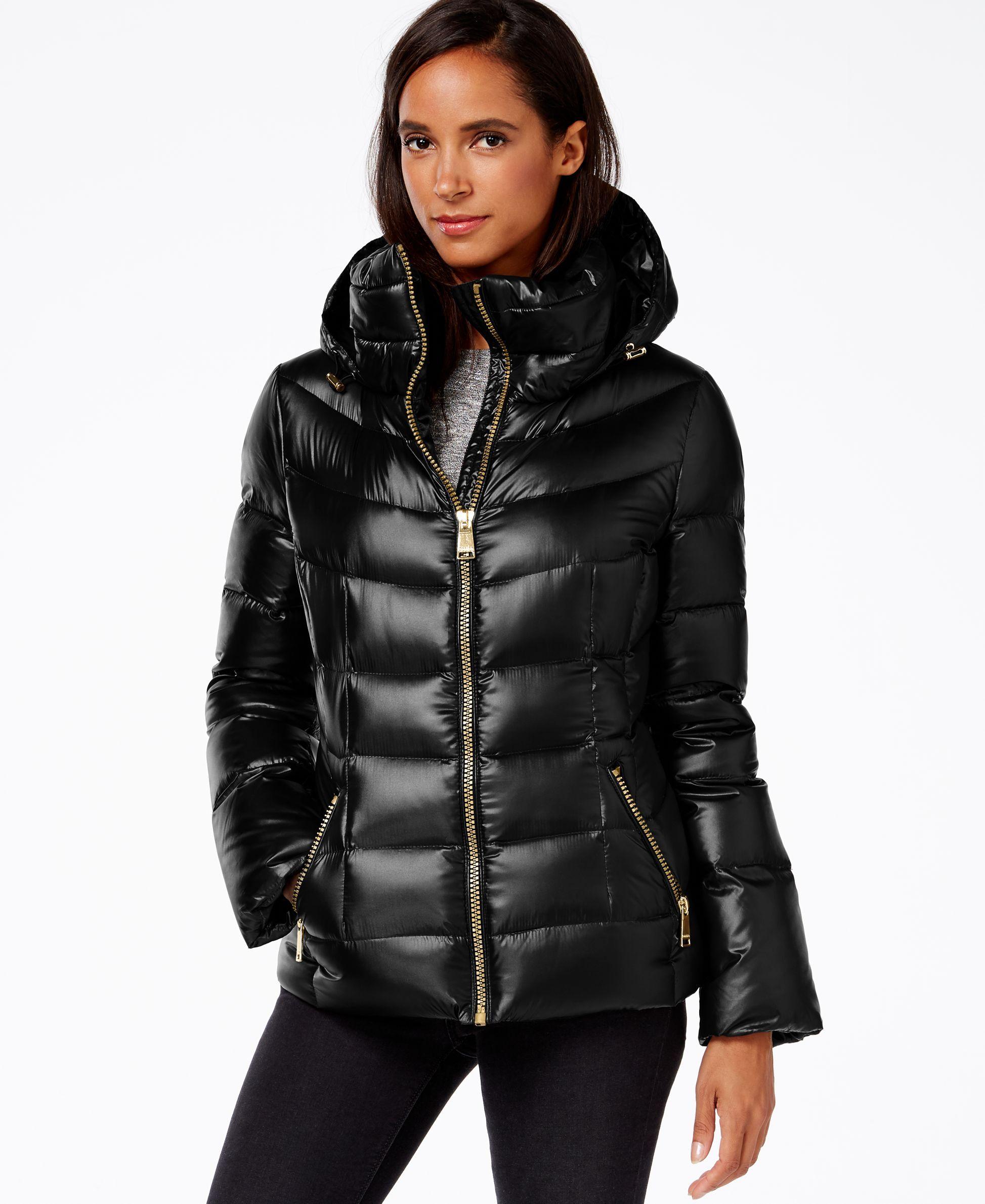 Calvin Klein Hooded Puffer Coat Coats Women Macy S Puffer Jacket Women Puffer Coat Black Puffy Coat [ 2378 x 1947 Pixel ]