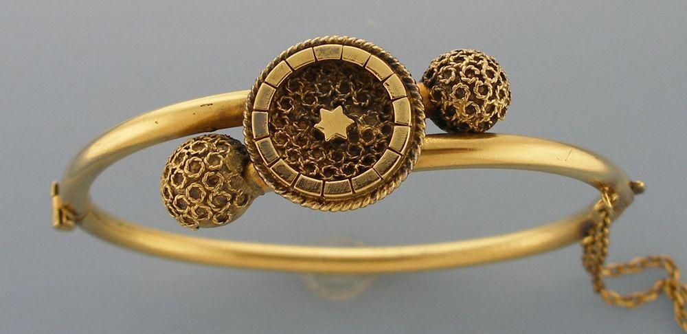 Vintage Victorian Design Ornate Bangle Gold Rolled Small #Bangle
