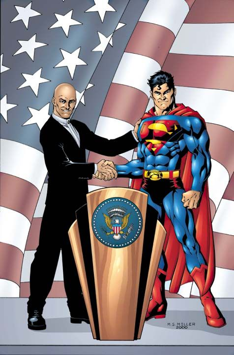 Superman Shaking Hand With Lex Luther  Comic Art -7063