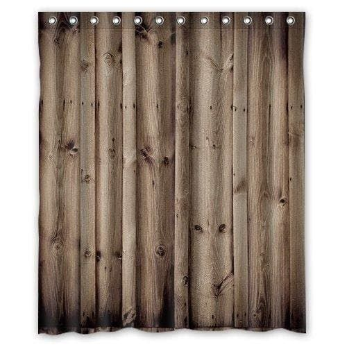 Vintage Rustic Knotty Wood Bathroom Polyester Shower Curtain