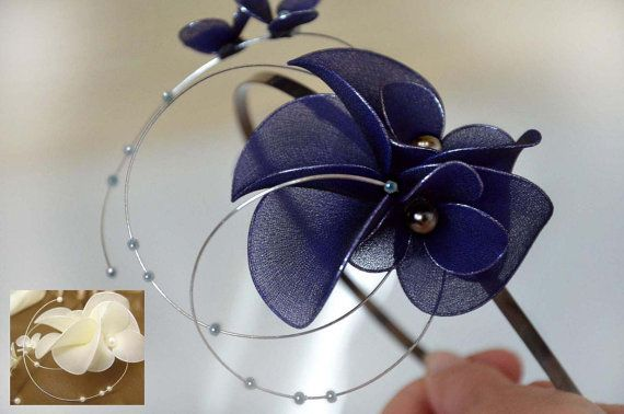 Navy blue fascinator Headband fascinator Wedding headpiece Ivory headpiece Bridal fascinator Flower hair band Flower hair comb
