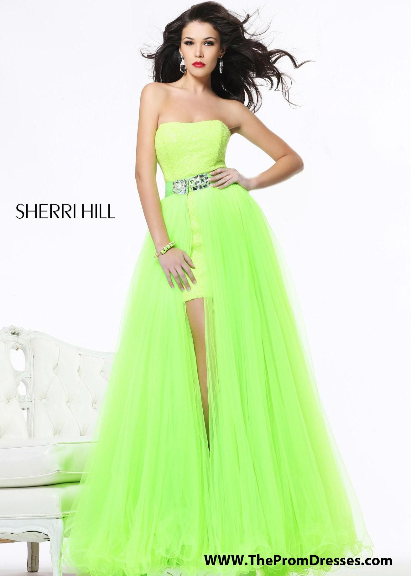 Love this neon green Sherri Hill 21139 prom dress! A perfect way to ...