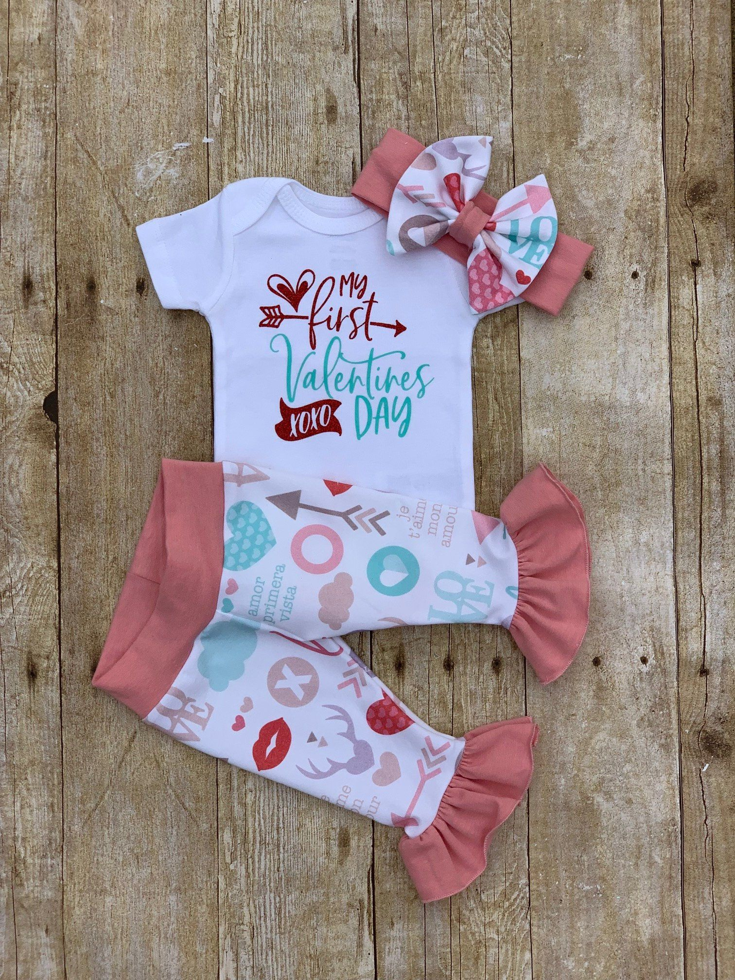 a32cd5fb2 Baby Girl First Valentines Day Ruffle Outfit
