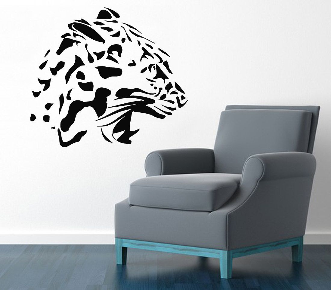 Wall Decals Wild Animals Cheetah Head Roaring Leopard Jaguar Living ...