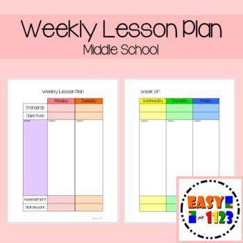 Weekly Lesson Plan For Middle School  Lesson Plan Templates School