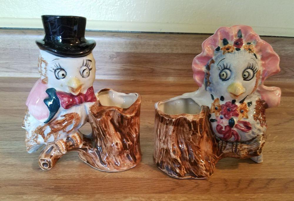 2 Vintage Occupied Japan Owl Figurines/Planters, Mr. and Mrs.