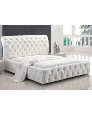 American Eagle White Leather Jeweled Button Tufted Platform Bed White Leather Bedroom White Upholstered Bed White Bedroom Set