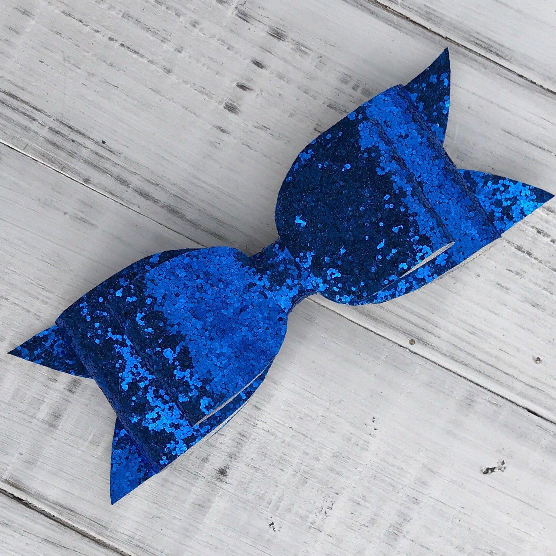 Blue Chunky Glitter Bow