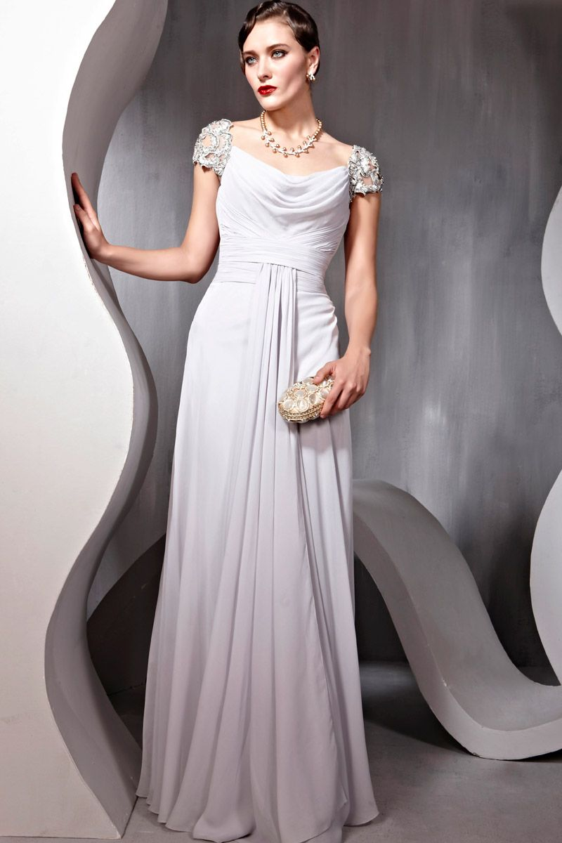 New ivory cocktail prom satin offtheshoulder beading formal long