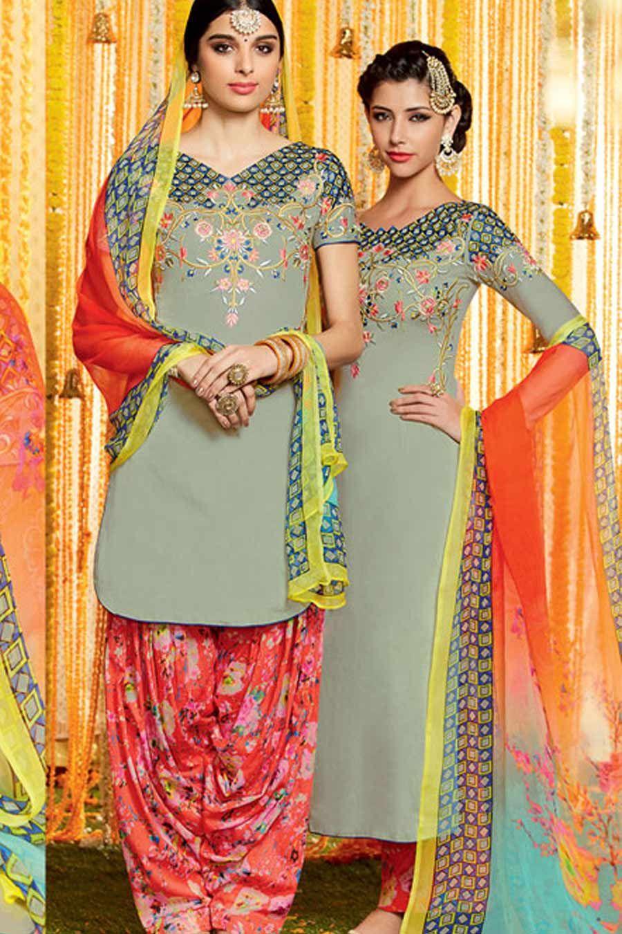Grey & MultiColor Cotton Satin Print UnStitch Punjabi Suit