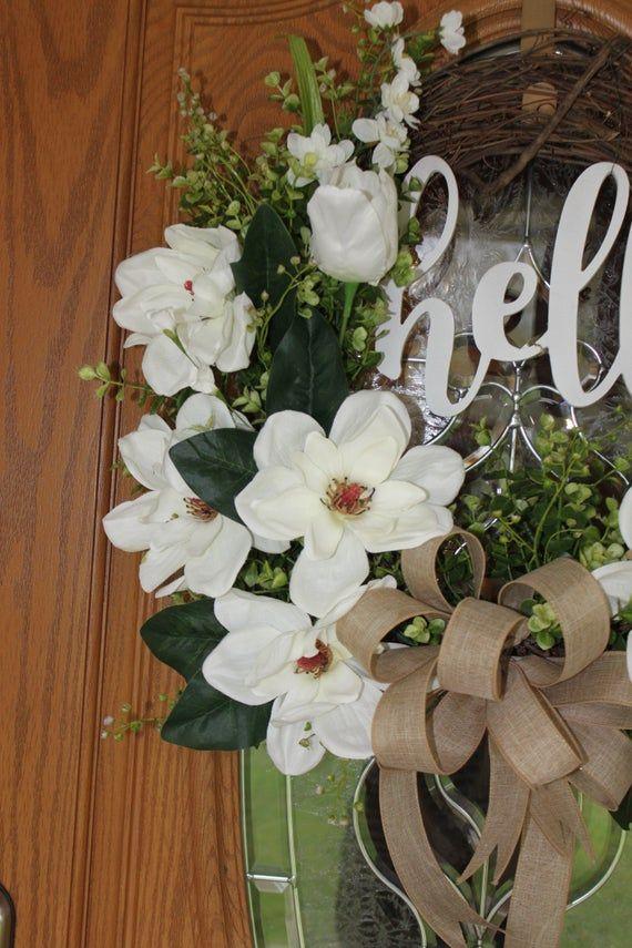 Photo of Spring Wreath Magnolia Flowers Magnolia Wreath – Wedding Wreath; Grapevine Wreath – Rustic Door Wreath – Monogram wreath
