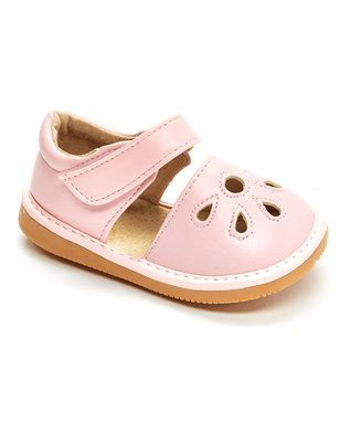 Light Pink Petal Leather Squeaker Mary Jane