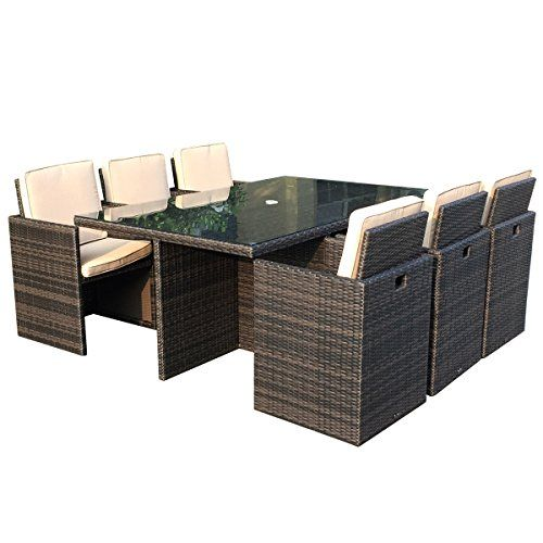charles bentley 7 piece garden rattan cube furniture set chair table patio 6 seater