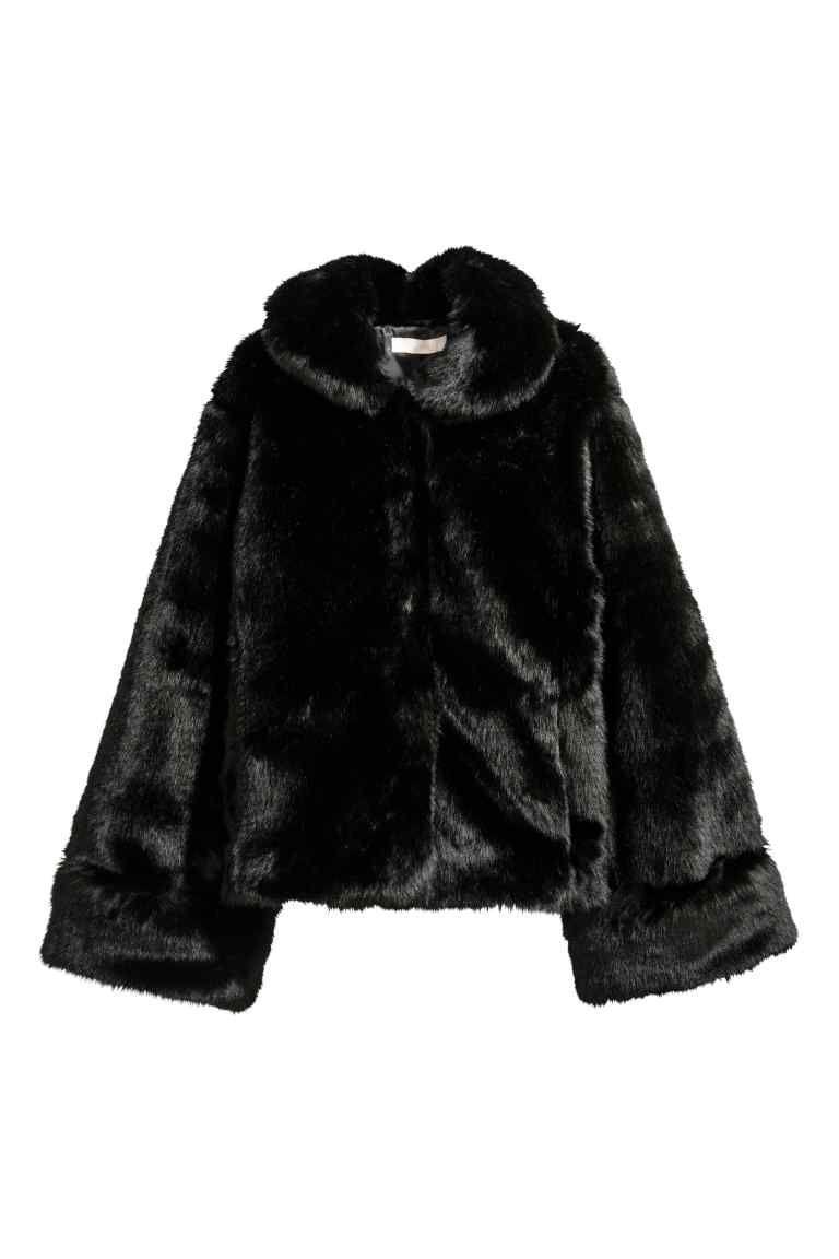 giacca finta pelliccia nera