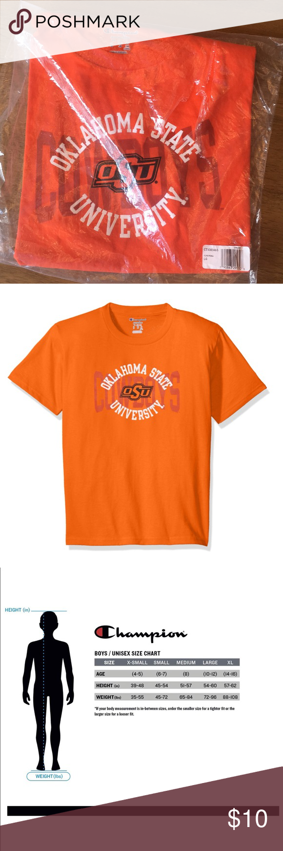 Champion Boys NCAA Youth Shirt 100/% Cotton Tagless Tee