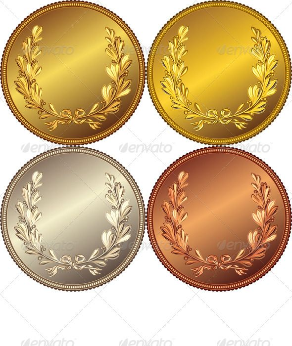 set of the gold silver and bronze coins coins gold and