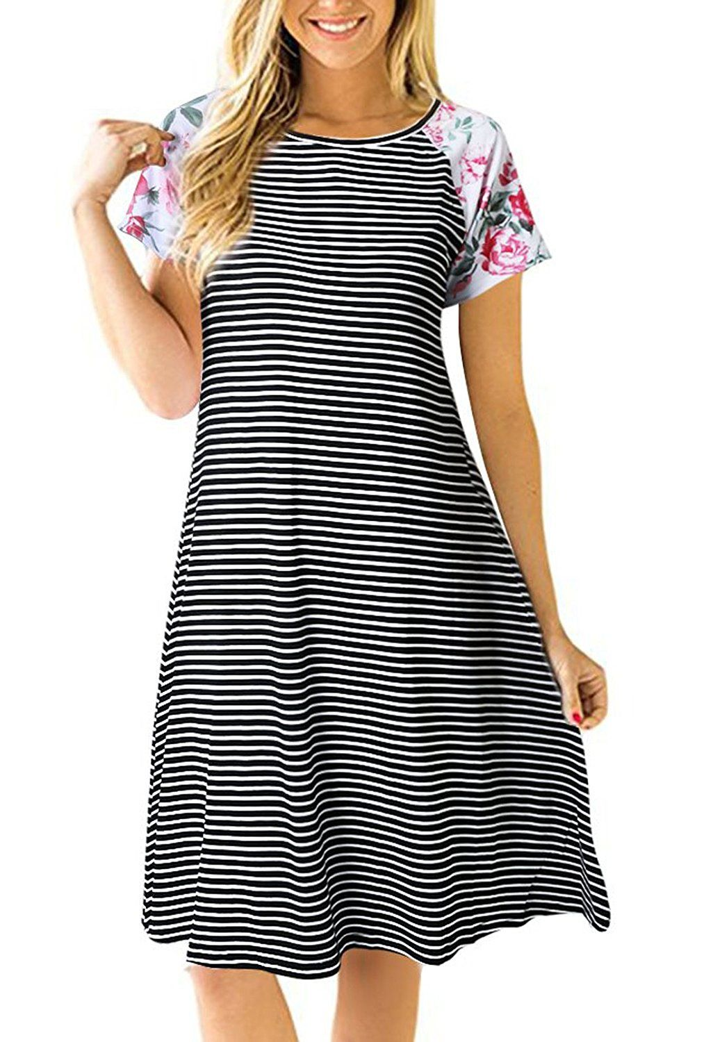 Uideazone women striped floral short sleeve tshirt dress loose a