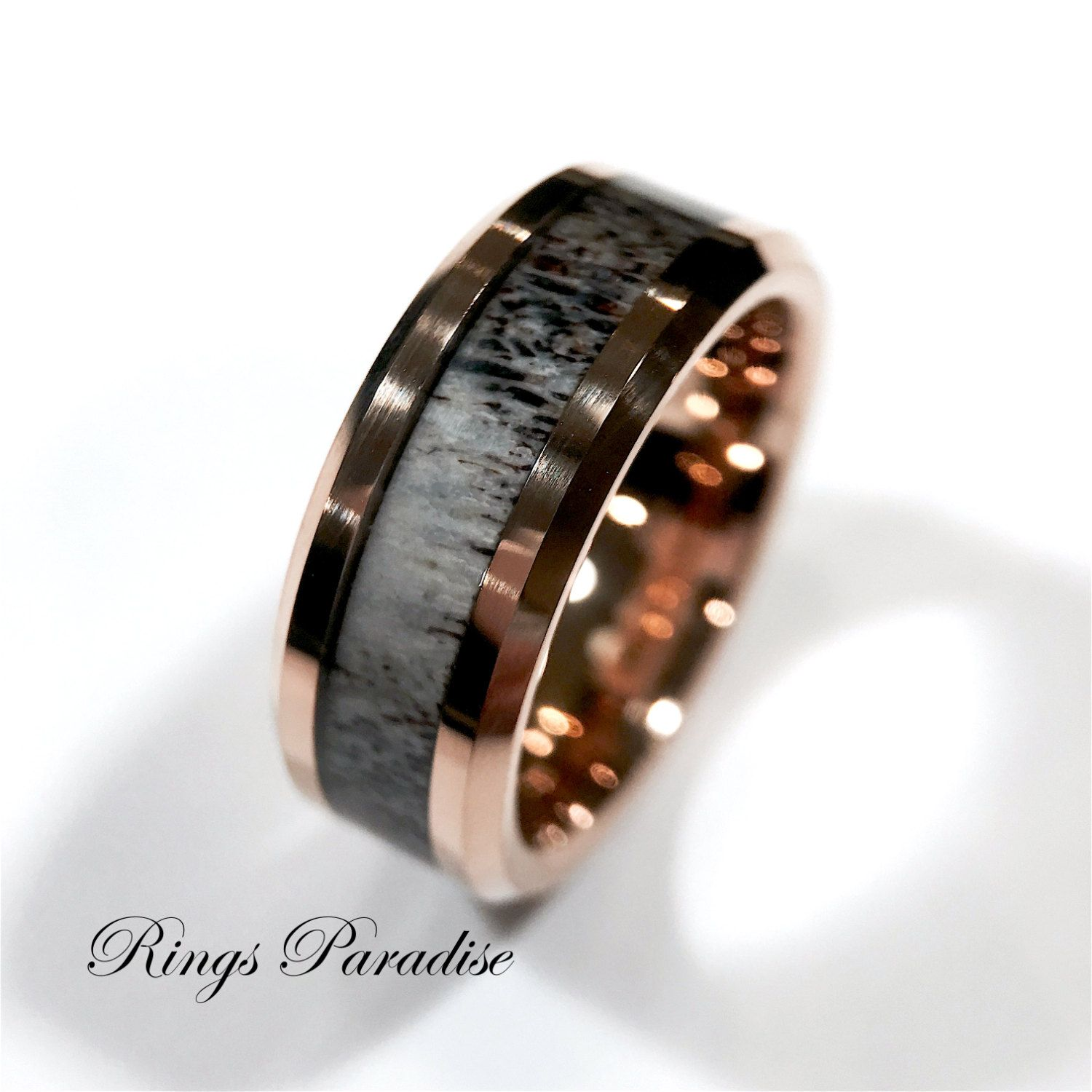 Real Antler Elk Ring Mens Tungsten Ring Wedding Band Engagement Rings Mens Tungsten Band