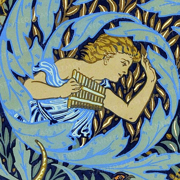 Pan Flute Ceramic Decal Walter Crane Ceramic Decals Panflute