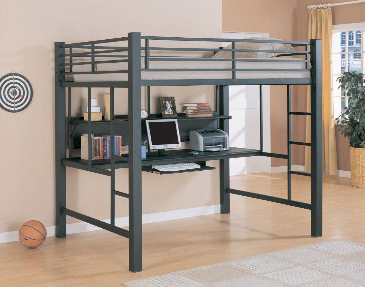 Coaster Full Metal Loft Bed With Desk Homemakers Furniture Queen Loft Beds Loft Bunk Beds Bunk Bed With Desk Full size bed with desk